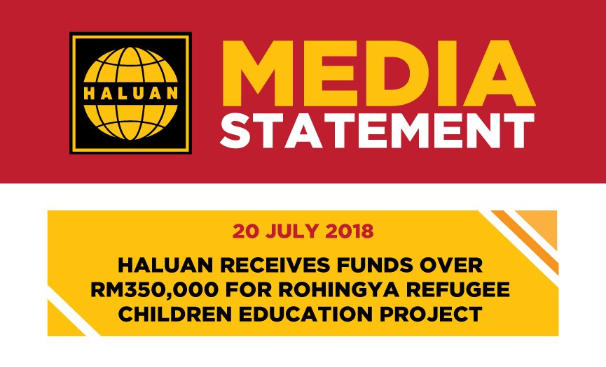 HALUAN Receives Funds Over RM350,000 For Rohingya Refugee Children Education Project