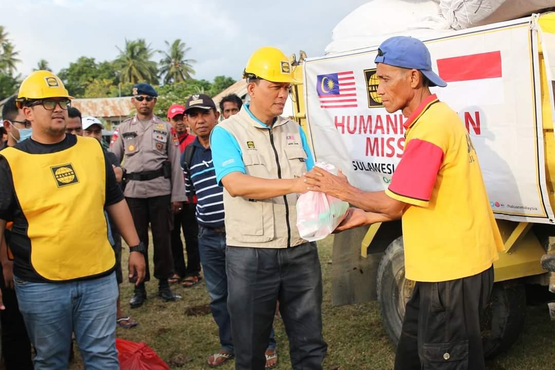 HALUAN Bergandingan Dengan NGO Brunei dan Indonesia, Agih Makanan Untuk Mangsa Gempa