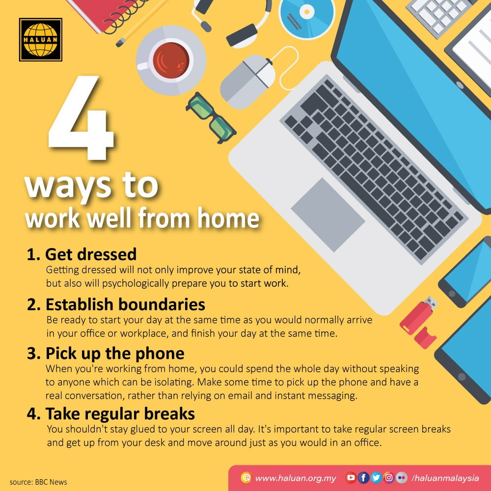 Four ways to work well from home