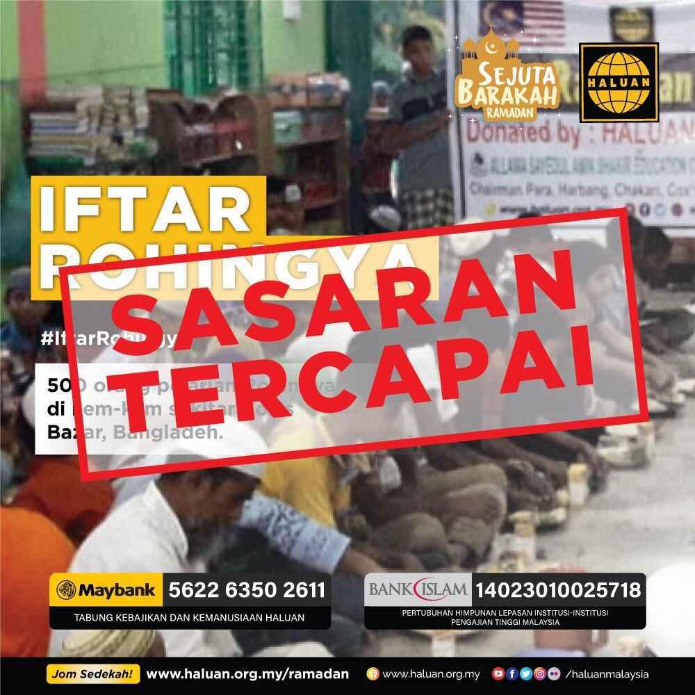IftarRohingya | Alhamdulillah, Sasaran Tercapai Lagi!