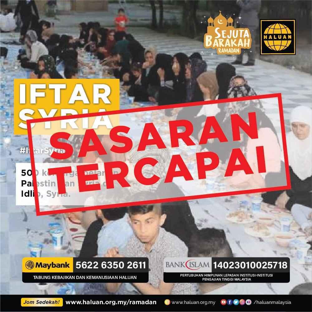 BANTUAN IFTAR SYRIA TELAH DITUTUP!