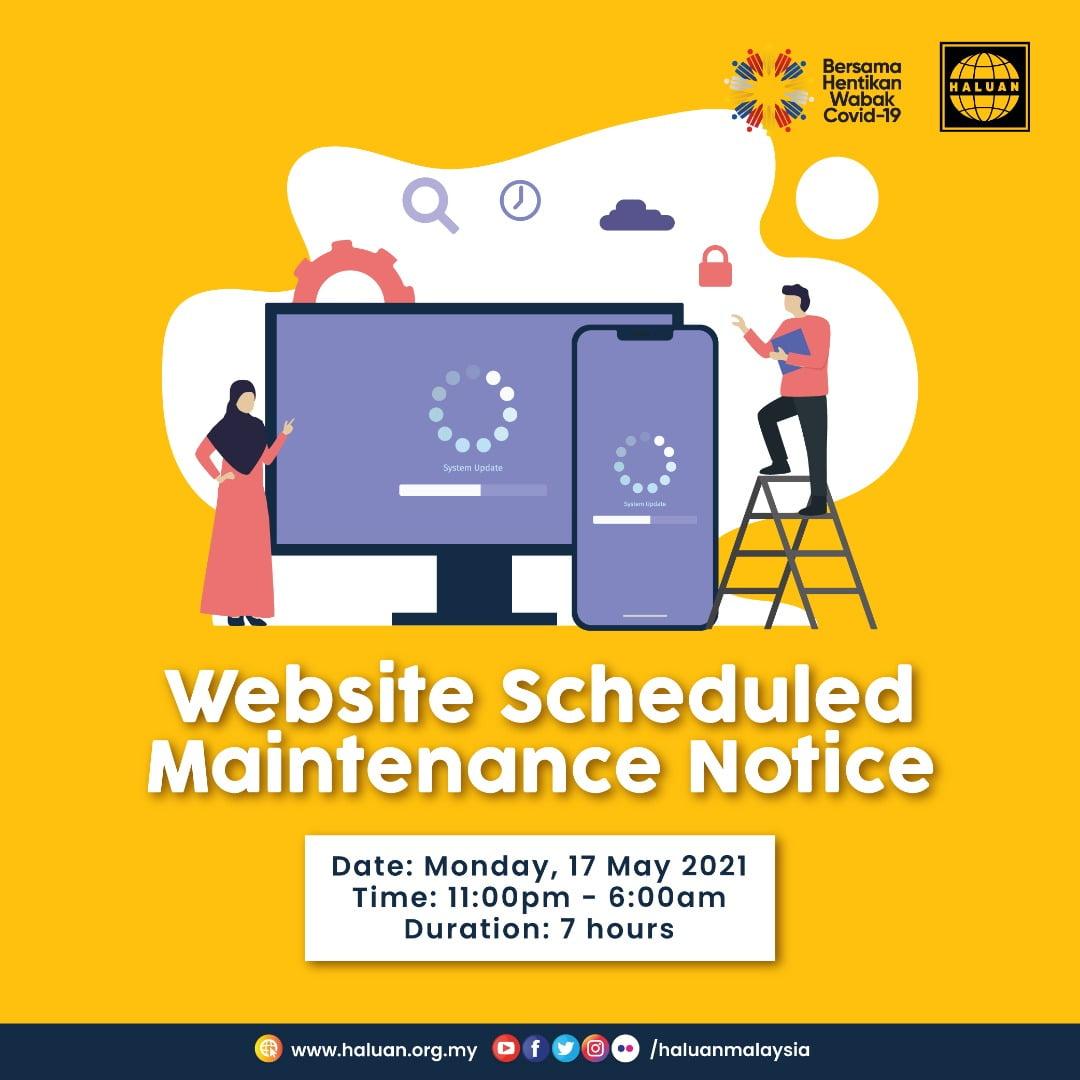 Website Scheduled Maintenance Notice
