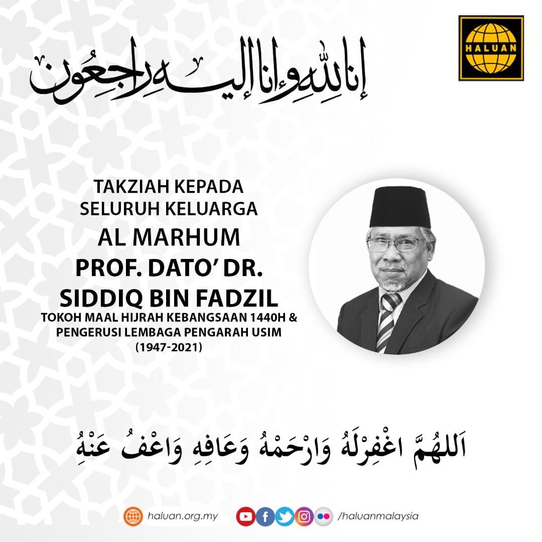 Seluruh keluarga HALUAN mengucapkan takziah kepada keluarga Prof. Dato' Dr. Siddiq Fadzil yang telah Kembali menemui Penciptanya pada 31 Ogos 2021/ 22 Muharram 1443H.