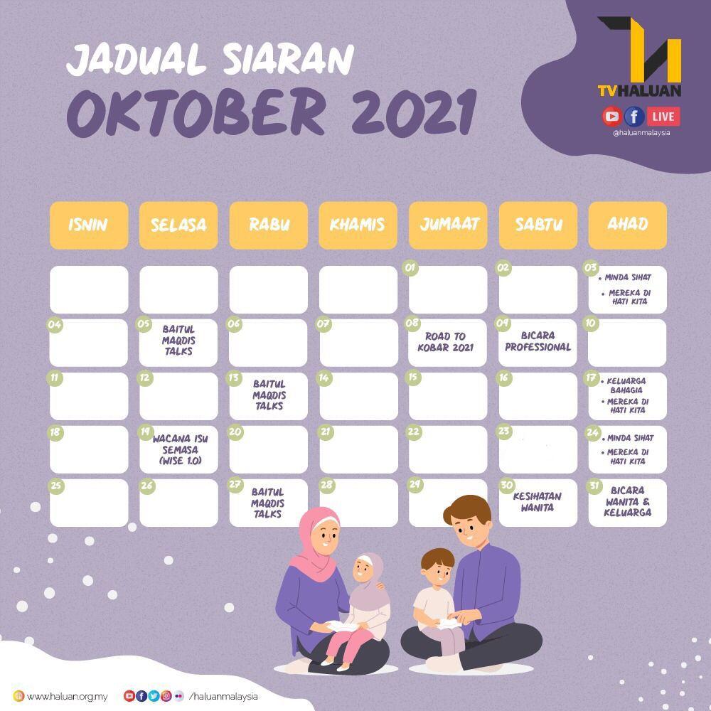 Jadual Siaran TV HALUAN Oktober 2021